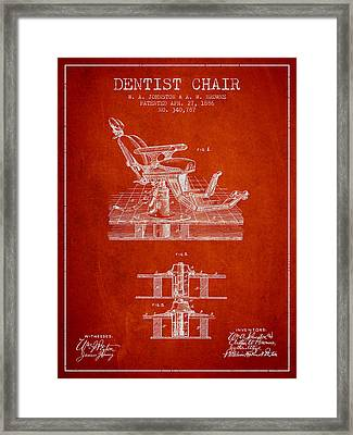 Dentist Chair Patent From 1886 - Red Framed Print