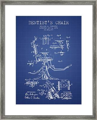 Dentist Chair Patent From 1892 - Blueprint Framed Print by Aged Pixel