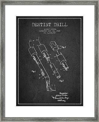Dentist Drill Patent From 1965 - Dark Framed Print