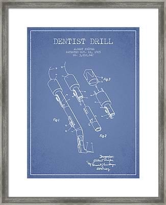 Dentist Drill Patent From 1965 - Light Blue Framed Print