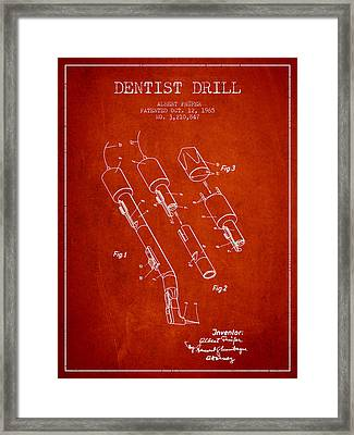 Dentist Drill Patent From 1965 - Red Framed Print