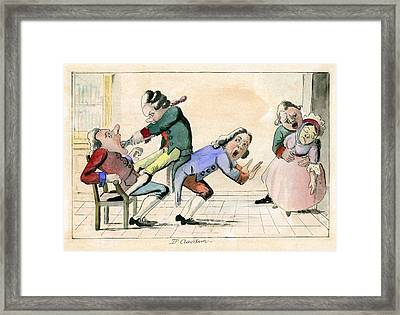 Dentistry Caricature, 18th Century Framed Print by Science Photo Library