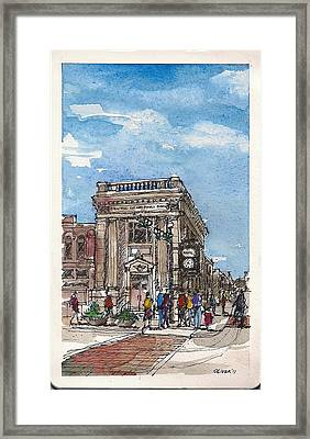 Framed Print featuring the mixed media Denton County National Bank by Tim Oliver