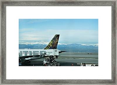 Denver Airport With Rockies In Background Framed Print