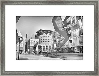 Denver Art Museum Courtyard Bw Framed Print by Angelina Vick