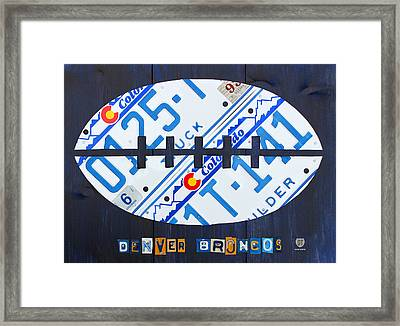 Denver Broncos Football License Plate Art Framed Print by Design Turnpike