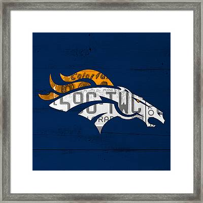 Denver Broncos Football Team Retro Logo Colorado License Plate Art Framed Print