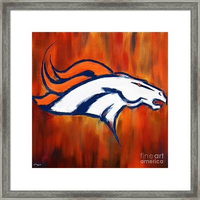 Denver Broncos Framed Print by Lourry Legarde
