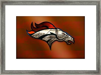 Denver Broncos With Skyline 2 Framed Print