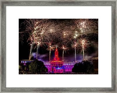 Denver Co 4th Of July Fireworks Framed Print by Teri Virbickis