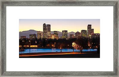 Denver Colorado Skyline From City Park Framed Print by Gregory Ballos