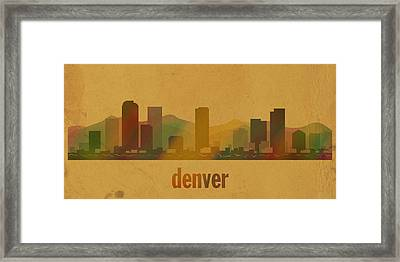 Denver Colorado Skyline Watercolor On Parchment Framed Print by Design Turnpike