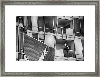 Denver Diagonal Lines Bw Framed Print by Angelina Vick
