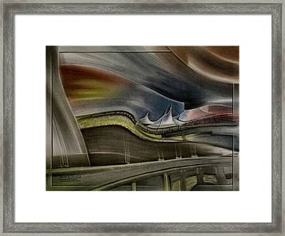 Framed Print featuring the pastel Denver Intl Airport 2010 by Glenn Bautista