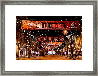 Denver Larimer Square Nfl United In Orange Framed Print