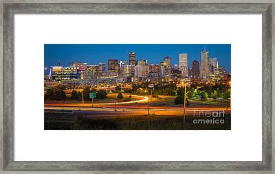 Denver Nightscape Framed Print by Inge Johnsson
