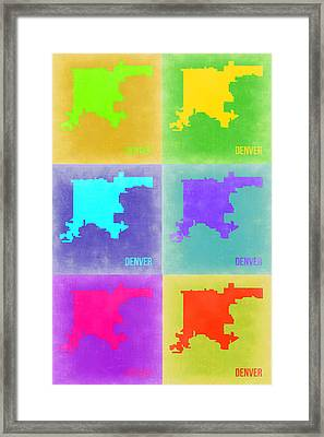 Denver Pop Art Map 3 Framed Print by Naxart Studio