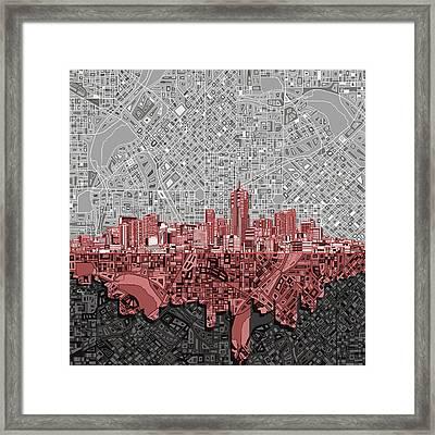 Denver Skyline Abstract 2 Framed Print by Bekim Art