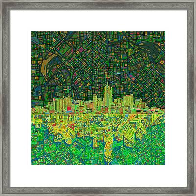Denver Skyline Abstract 3 Framed Print by Bekim Art