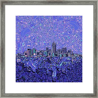 Denver Skyline Abstract 4 Framed Print