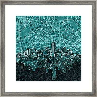 Denver Skyline Abstract 5 Framed Print
