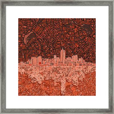 Denver Skyline Abstract 6 Framed Print by Bekim Art