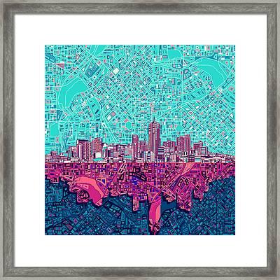 Denver Skyline Abstract 7 Framed Print by Bekim Art