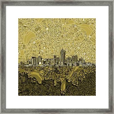 Denver Skyline Abstract 8 Framed Print by Bekim Art