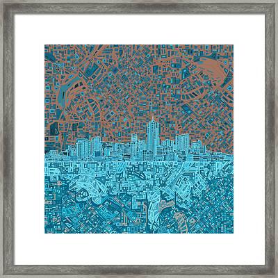 Denver Skyline Abstract Framed Print by Bekim Art