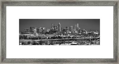 Framed Print featuring the photograph Denver Skyline At Dusk Black And White Bw Evening Panorama Broncos Colorado  by Jon Holiday