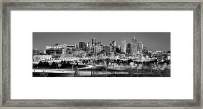 Framed Print featuring the photograph Denver Skyline At Dusk Evening Bw Black And White Evening Panorama Broncos Colorado  by Jon Holiday
