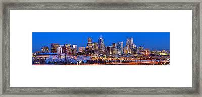 Framed Print featuring the photograph Denver Skyline At Dusk Evening Color Evening Extra Wide Panorama Broncos by Jon Holiday