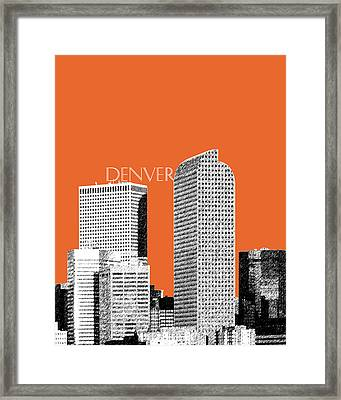 Denver Skyline - Coral Framed Print by DB Artist