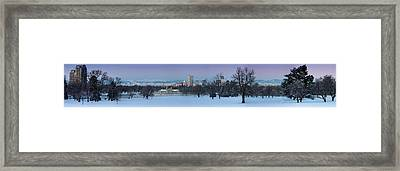 Framed Print featuring the photograph Denver Skyline From City Park by Kristal Kraft