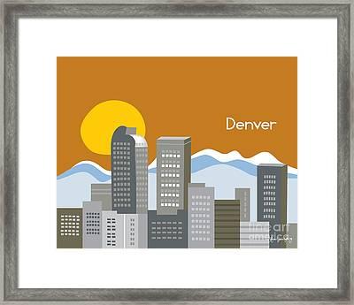 Denver Skyline Print Framed Print by Karen Young