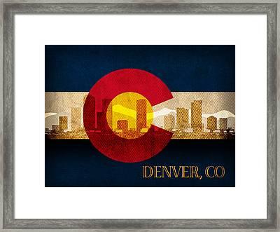 Denver Skyline Silhouette Of Colorado State Flag Canvas Framed Print