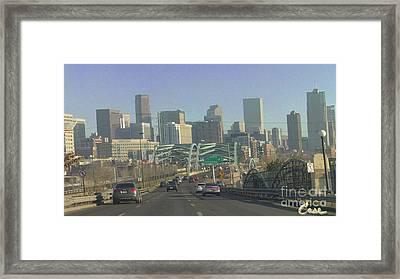 Denver Skyline View East From Speer 12 10 2011 Framed Print by Feile Case