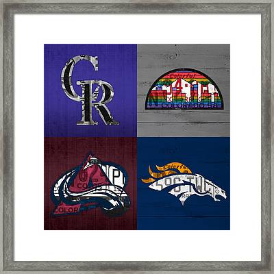 Denver Sports Fan Recycled Vintage Colorado License Plate Art Rockies Nuggets Avalanche Broncos Framed Print