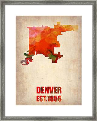 Denver Watercolor Map Framed Print by Naxart Studio