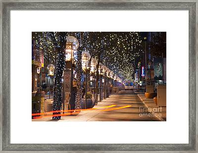 Denver's 16th Street Mall At Christmas Framed Print