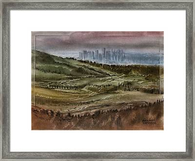 Framed Print featuring the pastel Denverscape 2010 by Glenn Bautista
