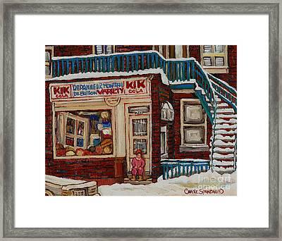 Depanneur Kik Cola Montreal Framed Print by Carole Spandau