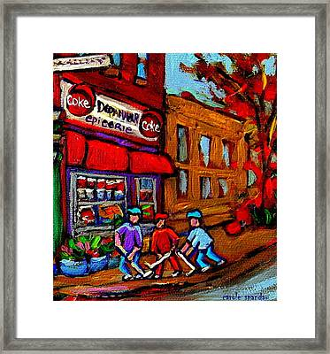 Depanneur  Marche Epicerie Montreal Summer Street Hockey Painting South West City Scene Framed Print by Carole Spandau