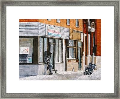 Depanneur Marche Fortier Verdun Framed Print by Reb Frost