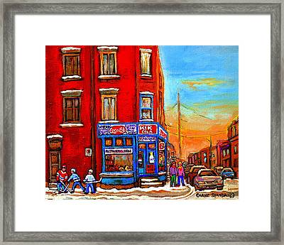Depanneur Marche Fruits Verdun Restaurant Smoked Meat Deli  Montreal Winter Scene Paintings  Hockey  Framed Print
