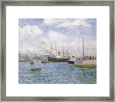 Departure From Havre Framed Print by Maxime Emile Louis Maufra