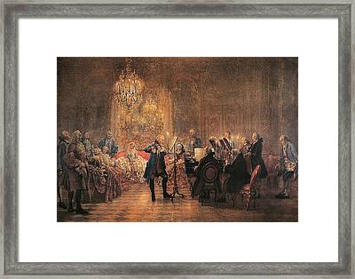 depicting a flute concert of Frederick the Great Framed Print by Adolf von Menzel