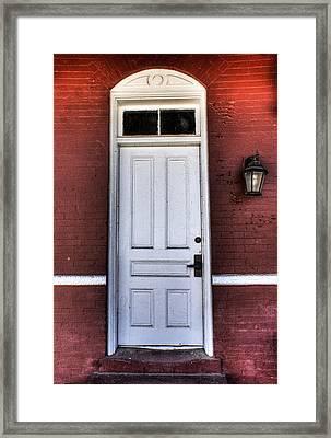 Framed Print featuring the photograph Depot Door by Rebecca Hiatt