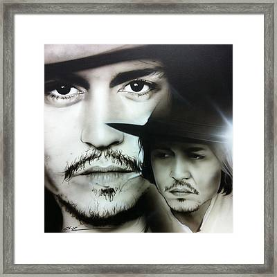 Johnny Depp - ' Depp ' Framed Print by Christian Chapman Art