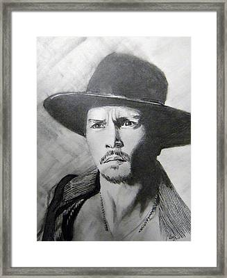 Framed Print featuring the drawing Depp by Lori Ippolito